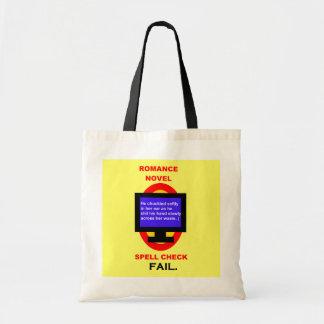 Romance Novel Spell Check Fail Funny Budget Tote Bag