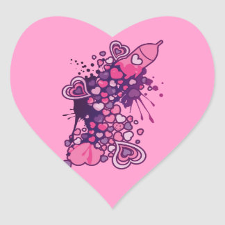 Romance_On_A_Rocket Heart Sticker