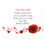 Romance Red Roses Save the date Postcard