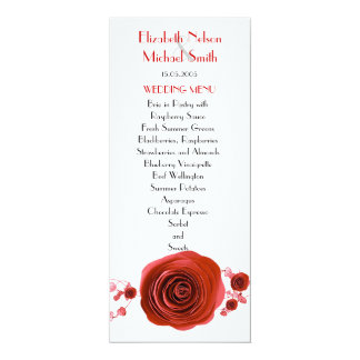 Romance Red Roses Wedding Menu Personalized Invitation