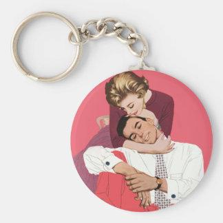 Romance retro rosado, amor romántico del vintage llavero redondo tipo pin