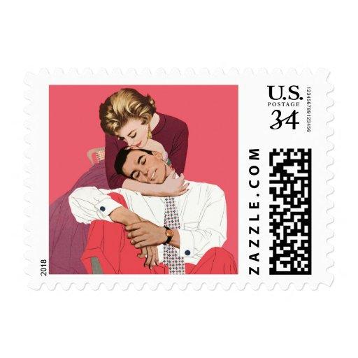 Romance retro rosado, amor romántico del vintage franqueo