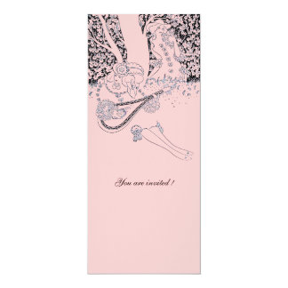 ROMANCE /ROMANTIC LOVERS BLACK PINK WEDDING PARTY CARD