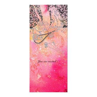 ROMANCE/ ROMANTIC LOVERS IN PINK FUCHSIA SPARKLES CARD