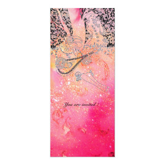 ROMANCE, SAVE THE DATE black and pink 4x9.25 Paper Invitation Card