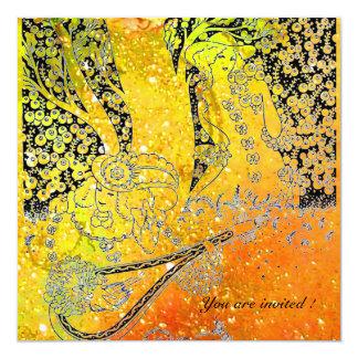 ROMANCE, SAVE THE DATE black and yellow orange Invitation