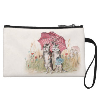 Romance Under the Pink Umbrella- Vintage Cat Art Wristlet Clutches