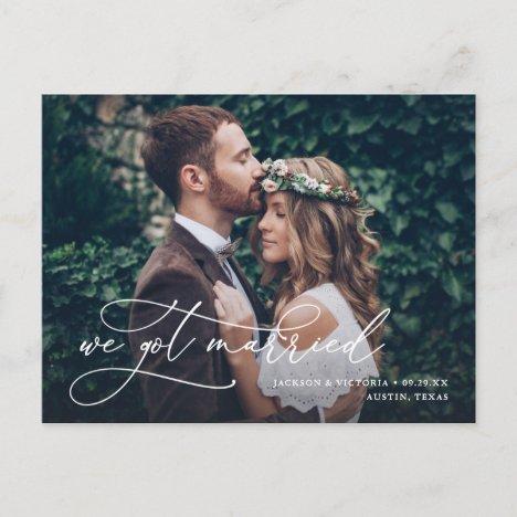 Romance We Got Married Elopement Postcard