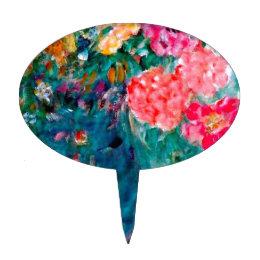 Romance Whimsical Designer Art Flower Gift Cake Topper