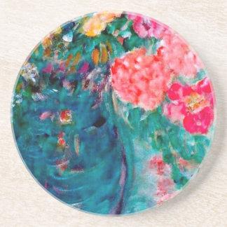 Romance Whimsical Designer Art Flower Gift Coaster