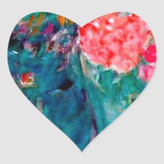 Romance Whimsical Designer Art Flower Gift Heart Sticker