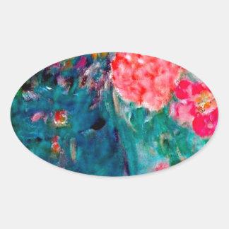 Romance Whimsical Designer Art Flower Gift Oval Sticker