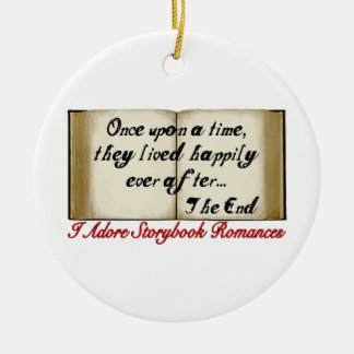 Romances del guión feliz siempre después adorno navideño redondo de cerámica
