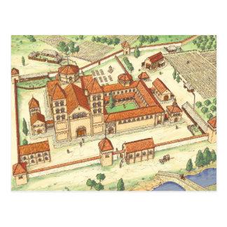 Romanesque Abbey. Model Postcard
