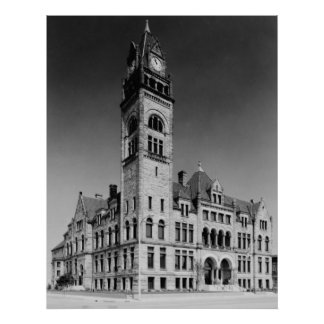 Romanesque City Hall Building Poster