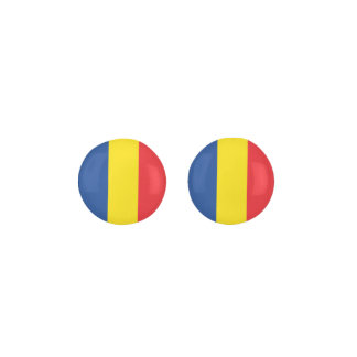ROMANIA Blue Yellow And Red Flag Earrings