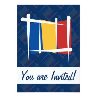 Romania Brush Flag 5x7 Paper Invitation Card