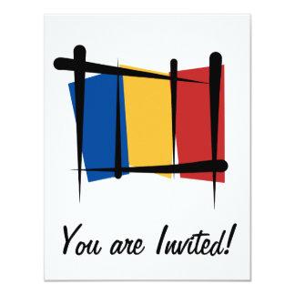 Romania Brush Flag 4.25x5.5 Paper Invitation Card