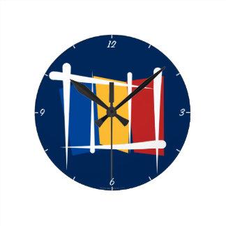 Romania Brush Flag Round Clock