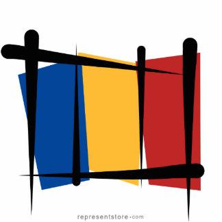 Romania Brush Flag Statuette