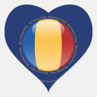 Romania Bubble Flag Heart Sticker