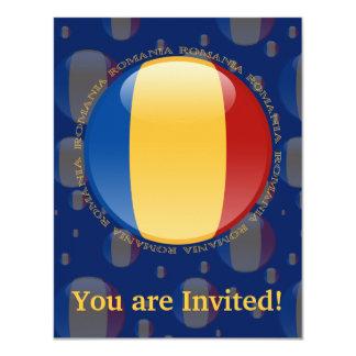 Romania Bubble Flag 4.25x5.5 Paper Invitation Card