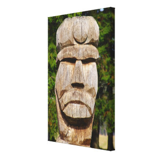 Romania, Carved wooden head of King Vlad Canvas Print