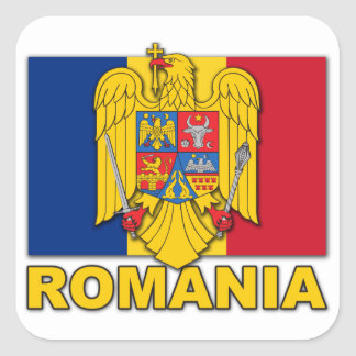 Romania Coat of Arms Flag Square Sticker