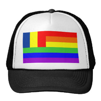 romania country gay proud rainbow flag homosexual trucker hat