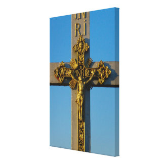 Romania, crucifix on a wayside shrine canvas print