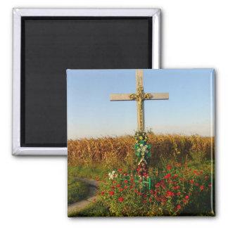 Romania, Crucifix,wayside shrine 2 Inch Square Magnet