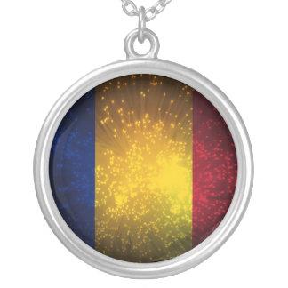 Romania Flag Firework Round Pendant Necklace