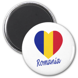 Romania Flag Heart 2 Inch Round Magnet