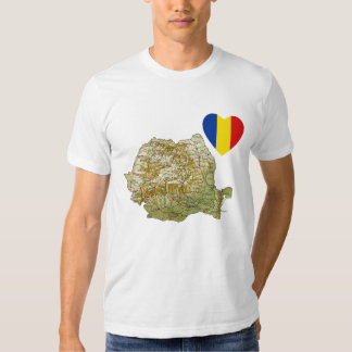 Romania Flag Heart and Map T-Shirt