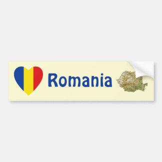 Romania Flag Heart + Map Bumper Sticker Car Bumper Sticker