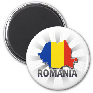 Romania Flag Map 2.0 2 Inch Round Magnet