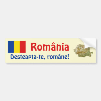 Romania Flag + Map Bumper Sticker Car Bumper Sticker