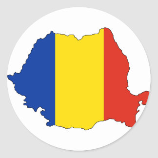 Romania flag map classic round sticker