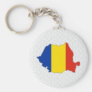 Romania Flag Map full size Basic Round Button Keychain