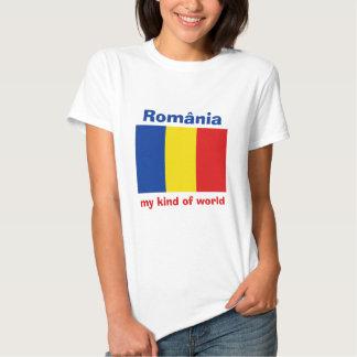 Romania Flag + Map + Text T-Shirt