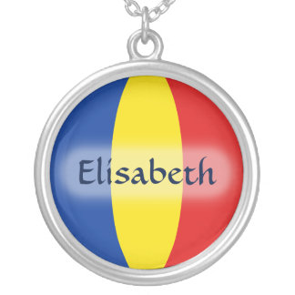 Romania Flag + Name Necklace