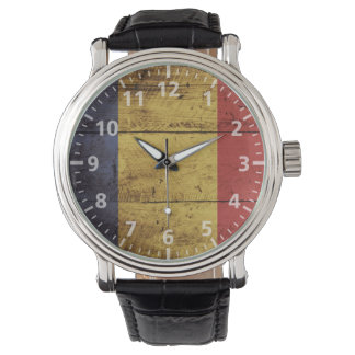 Romania Flag on Old Wood Grain Watches