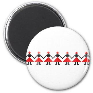 romania folk ethnic dance geometric motif costume 2 inch round magnet