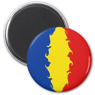 Romania Gnarly Flag 2 Inch Round Magnet