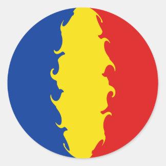 Romania Gnarly Flag Classic Round Sticker