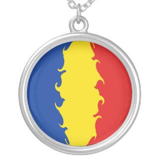 Romania Gnarly Flag Round Pendant Necklace