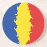 Romania Gnarly Flag Sandstone Coaster