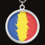 Romania Gnarly Flag Silver Plated Necklace