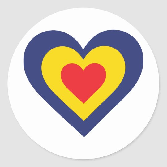 Romania Heart Classic Round Sticker