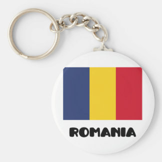 Romania Basic Round Button Keychain